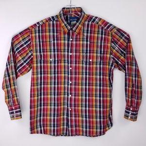 Wrangler Western Mens Shirt Size Large Snap Button